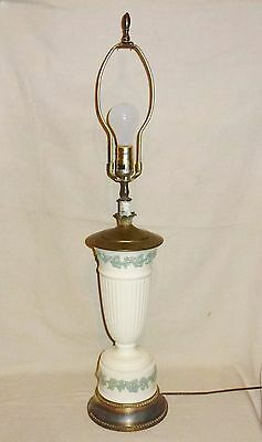 "Wedgwood Queensware Blue On White Table Lamp (Total Height 33"")"