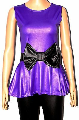 Women Ladies Sleeveless Pvc Bow Peplum Vest Top Dress Size 8-10,12-14