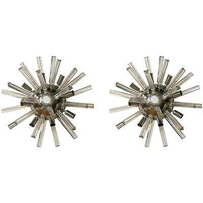 Pair of Italian Art Deco Spherically Shaped Crystal Wall Sconces 101-Wh20A