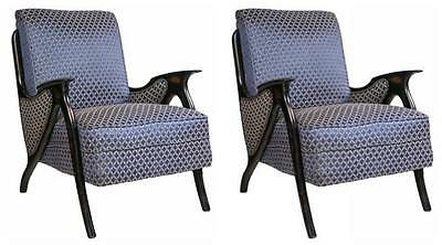 Pair Of MidCentury Modern Newly Upholstered Arm Chairs 101-WH15