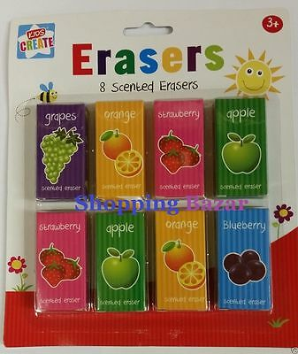 PK 8 Kids Children Fruit Scented Erasers Rubbers School Party Gift Bag Filler