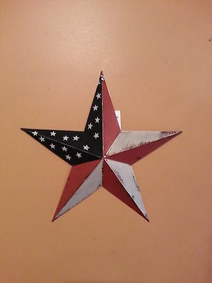 "12"" Americana Barn Star, Red White Blue, Antiqued, New Primitive Metal Stars"