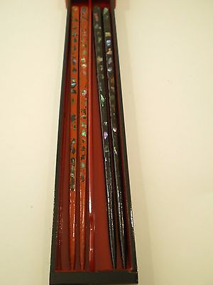 Two Sets Vintage Japanese Chopsticks in Lacquer Drawer