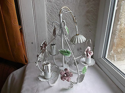 French exquisite 3 light chandelier tole pastel floral birdcage lovely vintage