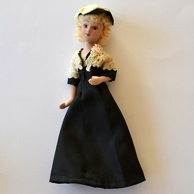 Porcelain Doll Collectible / Vintage Style Dress Moving Legs / Arms Blond