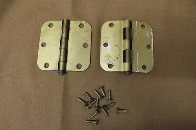 """RECLAIMED Pair of Lawrence Brothers Brass Hinges w/Round Corner 3 1/2"""" x 3 1/2"""""""