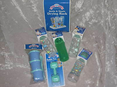 Baby Bottles Containers Rattle Drying Rack Green NEW!