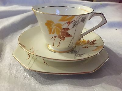 Paragon Vintage Art Deco Trio Autumn Leaves. Made In England In Vg To Ex Cond.