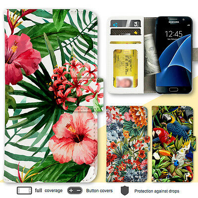 Galaxy S10 S10+ S9 Case Tropical Pattern Print Wallet Leather Cover for Samsung