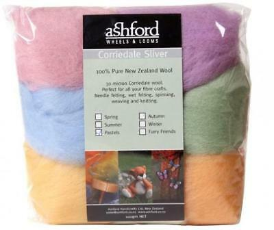 Corriedale Sliver - Mixed pack - Pastel Colours 100g