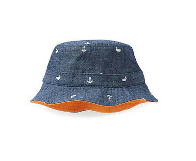 Carter's Kids Boys Red Blue Reversible Chambray Whale Bucket Sun Hat 4-7 Yth NWT