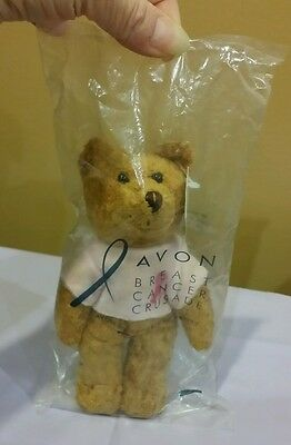 "Avon Breast Cancer Crusade Beanie Bear w/Pink Ribbon Shirt, 7"" in Sealed Bag"