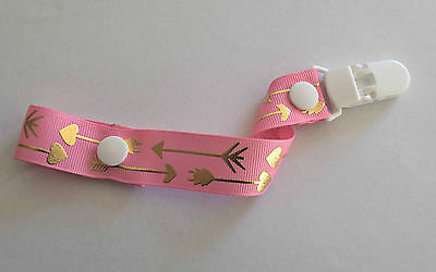 Brand New Handmade Dummy Clip/Pacifier Chain/Holder Arrow/tribal/hologram