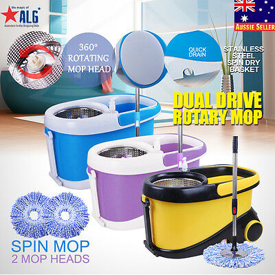 360 Degree Magic Spinning Mop Wheels Stainless Steel Spin-Dry Bucket w/2 Mop Hea