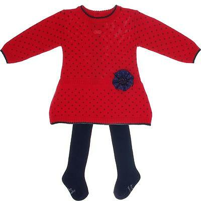 TUTTO PICCOLO Spanish Girls 4 & 6y RED/NAVY DOT DRESS w/TIGHTS NWT *CURRENT*