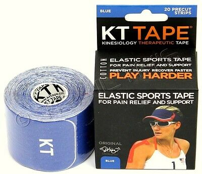 KT Tape Therapeutic Elastic Body Sports Tape Roll of 20 Strips - Cotton -  BLUE