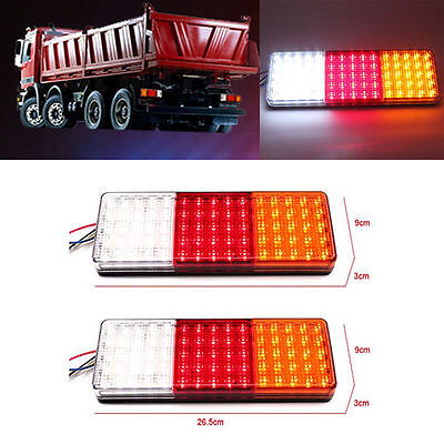 2X 75LED Tail Lights Trailer Bus Caravan Truck Boat Stop Rear Indicator Lamp 12V