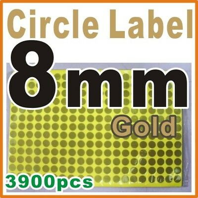 """Sticker Circle Round Labels Color GOLD 0.8 cm 8mm 5/16"""" inch 15 sheets"""