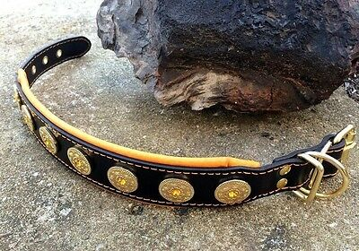 Bestia genuine leather dog collar. Studded. Soft padded. Handmade in Europe!
