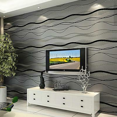 10M Modern 3D Non-woven Wallpaper Curve Stripe Bedroom TV Wall Decoration Roll