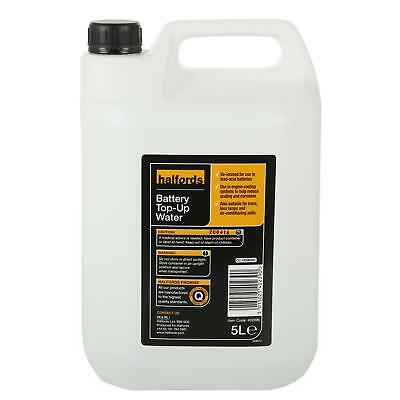 Halfords Battery Top Up Water 5L Bottle De-ionised Scaling Corrosion Reducer