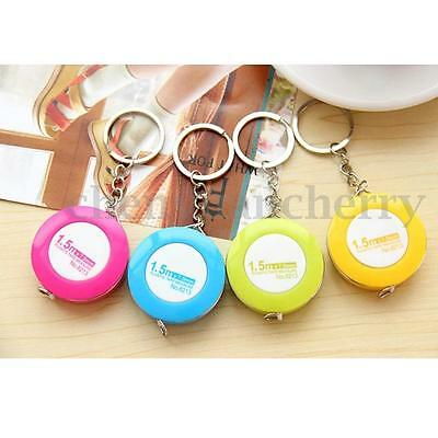 1.5M Retractable Rubber Tape Measures Cloth Sewing Tailor Body Measuring Keyring