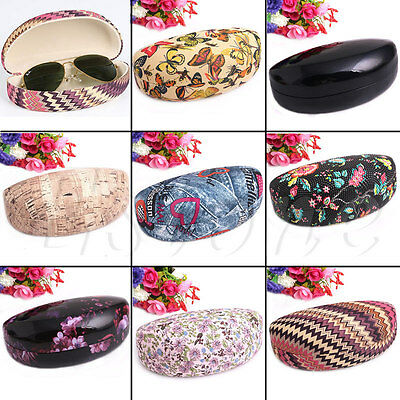 Leather Eye Glasses Sunglasses Case Clam Shell Hard Box Protector Holder Hot