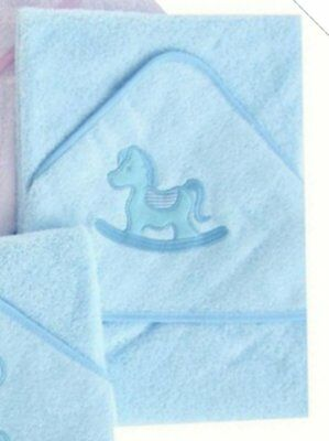 Beautiful Soft Rocking Horse Design Infant / Baby Hooded Bath Towel /Robe (Blue)