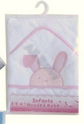 **NEW** Beautiful Embroidered Pink Bunny Rabbit Infant Hooded Towel / Bath Robe