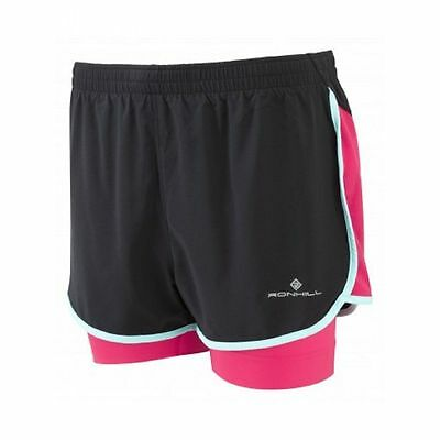 Ronhill Women's Running Jogging gym aspiration Twin Shorts Black/Cerise  rrp£36