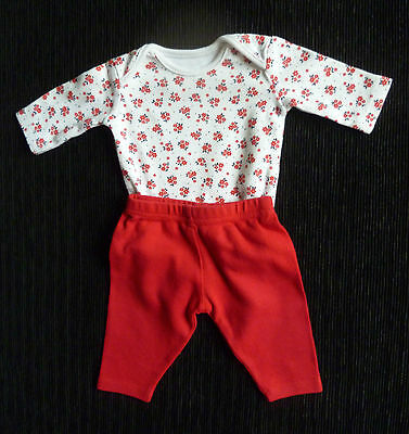 Baby clothes GIRL premature/tiny<7lb/3.2kg outfit red/white LS top/soft trousers