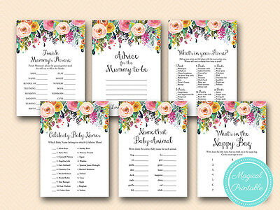 Print Yourself - Floral Chic Baby Shower Game Pack Printable TLC140