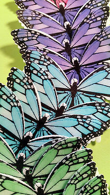 24 Edible Multi-Color Butterfly Wafer Cake Decorations,cupcake toppers