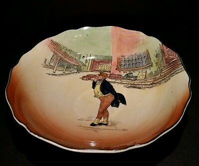Vtg Royal Doulton Dickens Ware Mr Pickwick Serving Bowl Scalloped Edge 9 1/4""