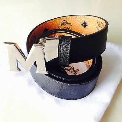 """Black Adjustable Mens Women Reversible Leather Belt with Silver M Buckle 42""""-48"""""""