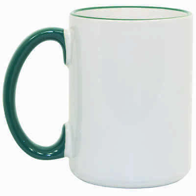 Sale! 15 oz Ceramic Sublimation Mugs - Rim & Handle - Green - 36/case (21524)