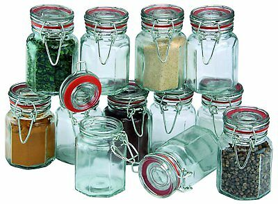 Set Of 12 Glass Clip Top Spice Jars Airtight Container Vintage Herb Storage Pots