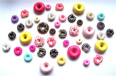 40 Mixed Donut Flatbacks - All Different Donuts + Free P&P