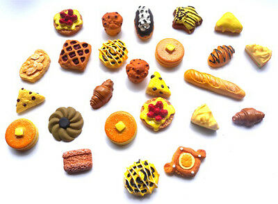 25 Mixed Bakery Flatbacks - All Different Breads Cakes Etc + Free P&p