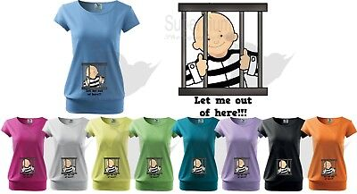 Maternity Pregnancy Funny T-shirt Top Baby Shower Gift Peeking Baby Let Me Out