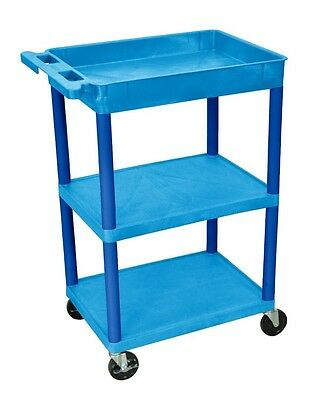 LUXOR BUSTC122BU Blue Utility Cart with Tub Top & 2 Flat Shelves