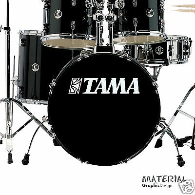 2x Tama Logo Sticker Decal - fork bass drum Head Drums kit Percussion Skin car