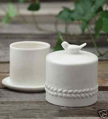 White Ceramic Butter Keeper Bell Dish w/ Bird Handle Country Cottage Shabby Chic