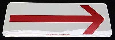 """Large Red Arrow Sign Sticker 3.5""""x10"""" Glow In The Dark Accuform"""