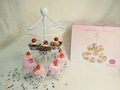 Iron Carousel Cupcake Stand 12 counts, White dessert stand tower