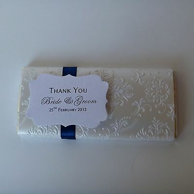 Personalised Chocolate Bars - Boudoir Design - Wedding Favour & Placecard in 1
