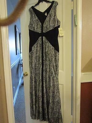Nwt Sangria Black Lace Ivory Sleeveless Maxi Dress Size 16 Missy
