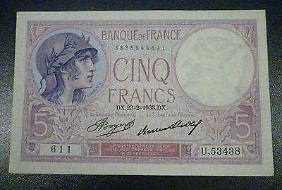 France Series 1933 5 Cinq Francs