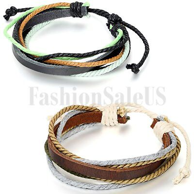 Fashion Women/Men Wrap Multilayer Multi-Color Leather Cuff Bracelet Wristband
