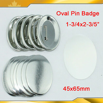 "1-3/4x2-3/5"" 45x65mm 100sets Oval Pin Badge Button Parts Supplies  015530"